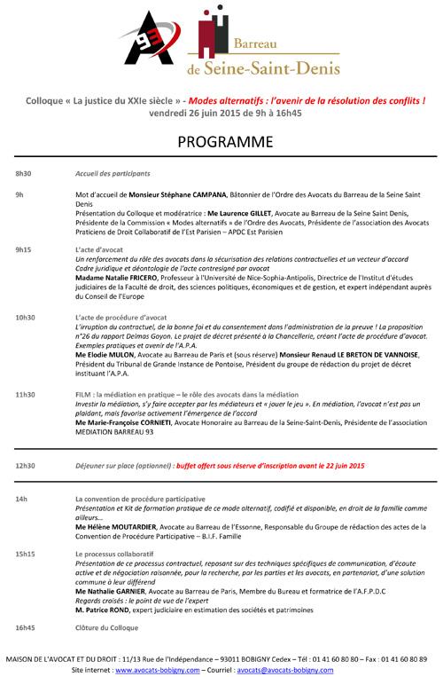 Colloque Programme du 26 juin